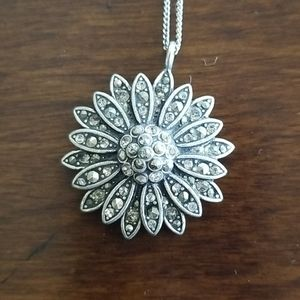 Fossil marcasite flower necklace